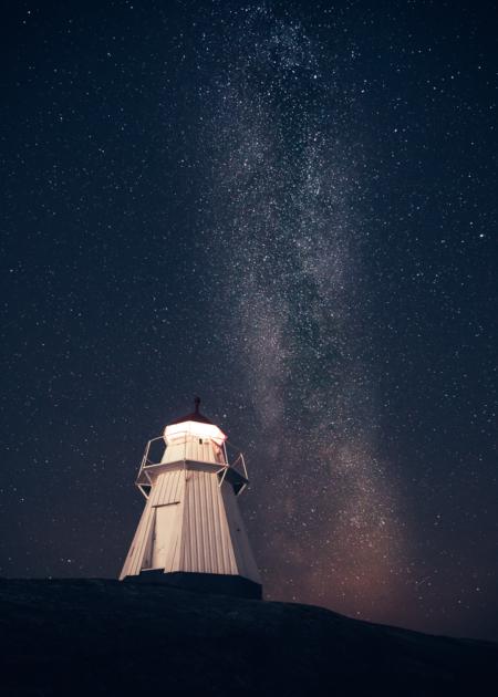 Vintergatan över Bua Fyr